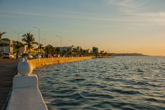 The Malecon Of Campeche. Gulf coast late in the evening. The promenade on the coast in San Francisco de Campeche, Mexico.  Royalty Free Stock Image