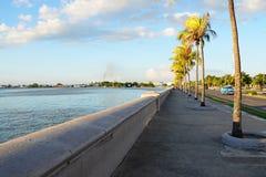 Malecon in Cienfuegos in the evening, Cuba. Malecon in Cienfuegos, sunset, in Cuba Stock Photo