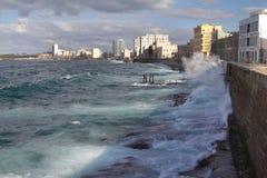 Malecon in Havana. Waves breaking on the waterfront Malecon in Havana Royalty Free Stock Image
