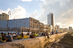 Malecon, Havana. People on the Malecon, the waterfront of Havana in Cuba Stock Images