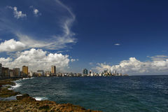 On Malecon in Havana. View from quay Malecon on ocean and Havana city. Cuba island Royalty Free Stock Photo