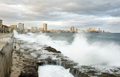 Malecon of havana. Waves in malecon of havana Stock Image