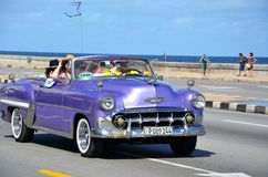 Malecon in Havana with American car, Cuba Royalty Free Stock Photo