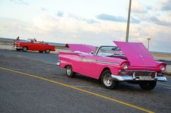 Malecon in Havana with American cars, Cuba Royalty Free Stock Image