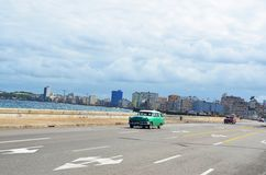 Malecon in Havana with American cars, Cuba Stock Image