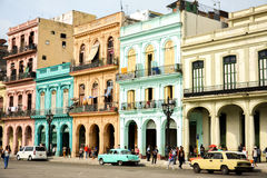 Malecon, Havana. Colonial houses and old cars in malecon, la havana royalty free stock images