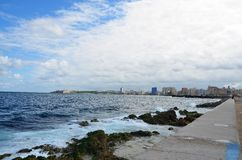 Malecon in Havana, Cuba. Malecon in Havana, along coast promenade, Cuba Royalty Free Stock Photo