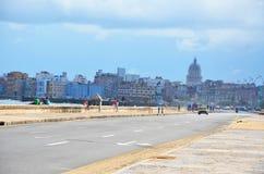 Malecon in Havana, Cuba. Malecon in Havana with Copula Capitolio Cuban White house, Cuba Royalty Free Stock Photo