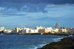 Malecon in Havana, Cuba. Malecon in Havana with Copula Capitolio Cuban White house, Cuba Royalty Free Stock Images