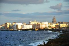 Malecon in Havana, Cuba. Malecon in Havana with Copula Capitolio Cuban White house, Cuba Stock Photo