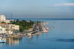 Malecon from the Havana Port. Picture of the busy Malecon from the port of Havana, Cuba with calm blue water Royalty Free Stock Photography