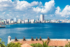 The Malecon and the Havana skyline in Cuba Royalty Free Stock Photos