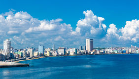 The Malecon and the Havana skyline in Cuba Stock Images