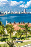 The Malecon and the Havana skyline in Cuba Royalty Free Stock Photo