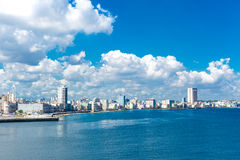 The Malecon and the Havana skyline in Cuba Stock Photography