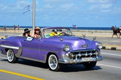 Malecon in Havana with typical American car, Cuba. Malecon in Havana and typical American car with tourists, Cuba Royalty Free Stock Photos