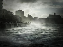 Malecon Havana. View from quay Malecon on ocean and Havana city. Cuba island Stock Photography