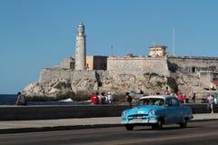 Malecon och Morro fästning royaltyfria foton