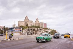 Malecon Road and Hotel Nacional de Cuba / National Hotel of Cuba royalty free stock image