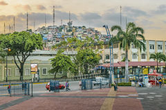 Malecon and Santa Ana Hill, Guayaquil, Ecuador. GUAYAQUIL, ECUADOR, MAY - 2016 - Long distant view of Cerro Santa Ana hill from malecon 2000 in Guayaquil Royalty Free Stock Images