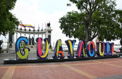 Malecon 2000 Sign. GUAYAQUIL, ECUADOR - FEBRUARY 15, 2017: Guayaquil Malecon 2000 sign. Malecon 2000 is the name given to the boardwalk overlooking the Guayas Stock Photography