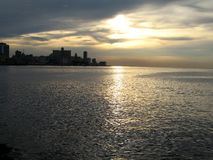 Malecon at sunset. The famous sea-front of Havana, Cuba Stock Photography