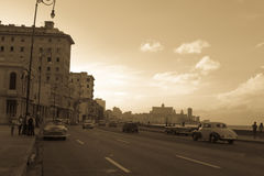 Malecon typical view in sunset with La Havana buildings at background. La Havana, Cuba  December 25, 2016 Malecon view with la havana at background, vintage or Stock Images