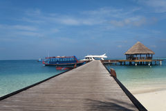 Malediven-Anlegestellen-Ewigkeits-Ansicht Lizenzfreies Stockbild