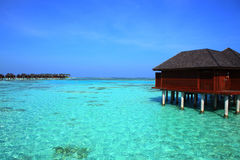 Malediven-vater Landhaus Stockfotos