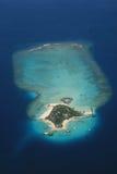 Maledivisches Atoll von oben Stockfoto
