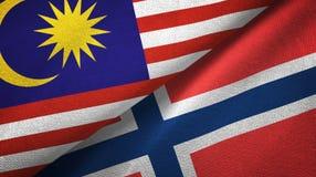 Maleisië en Noorwegen twee vlaggen textieldoek, stoffentextuur stock illustratie