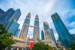 Maleisië - 12 Februari 2017:: Het symbool van de Petronastoren van Kuala lum Stock Fotografie
