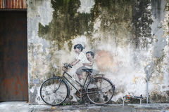Maleisië - Juli 19: straatkunst in Penang, Maleisië op 19 Juli, Stock Fotografie