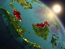 Maleisië van ruimte tijdens zonsopgang Royalty-vrije Stock Afbeeldingen