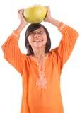 Maleisisch Meisje en Pompelmoesfruit VII Stock Foto