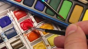 Malen - Aquarell-Farben Lizenzfreie Stockfotos