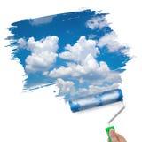 Malen des sauberen Himmel-/Ökologiekonzeptes Stockfoto