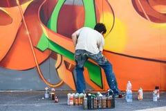 Malen einer Wand Stockfoto