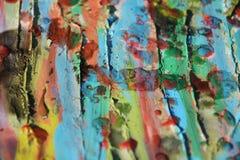 Malen Sie Anschläge der Bürste, der Aquarellfarben und des Wachses Lizenzfreies Stockfoto