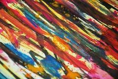 Malen Sie Aquarellfarben, Kontraste, kreativer Hintergrund der wächsernen Farbe Stockfoto