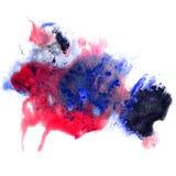 Malen Sie blauen, roten Anschlag plätschert Farbaquarell Stockfoto
