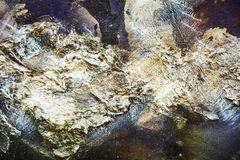 Malen Sie blauen silbrigen grünen purpurroten kreativen Hintergrund der flüssigen Bürstenanschlagfarbe Aquarellfarben-Zusammenfas stockbilder