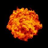 Malen Sie Explosionspartikel-Staubwolken-Spritzenzusammenfassungs-Beschaffenheitshintergrund des Pulvers orange Farb Stockfoto