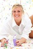 Malen Sie Frau mit Freckles Lizenzfreies Stockfoto