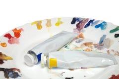 Malen Sie Gefäße und Palette Lizenzfreie Stockbilder