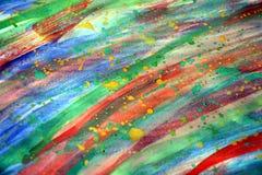 Malen Sie klare Farben des Aquarells in den Regenbogenfarben, Hintergrund Lizenzfreie Stockfotografie