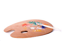 Malen Sie Palette und Pinsel Lizenzfreies Stockbild