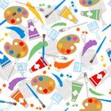 Malen Sie Paletten und Pinsel-nahtloses Wiederholungs-Muster Stockfotografie
