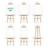 Malen Sie Schreibtisch-Vektor Weißbuch Künstler-Easel Set Withs Getrennt auf weißem Hintergrund Realistischer Maler Desk Blank Ca Lizenzfreies Stockfoto