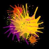 Malen Sie Splatters auf Schwarzem Stockbilder